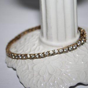 "Vintage gold and CZ tennis bracelet 7.25"""